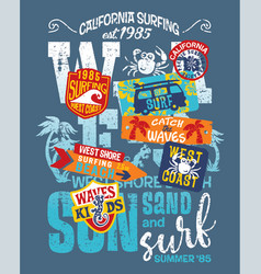 kid surfing team west coast california vector image vector image