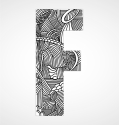 Letter F from doodle alphabet vector image