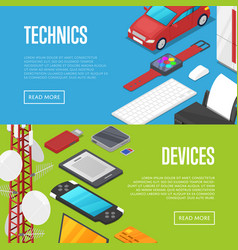 modern technics and computer devices set vector image vector image