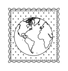 Monochrome contour frame of world map with vector