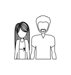 monochrome contour half body with man with beard vector image vector image