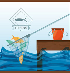 Net with fish and bucket vector