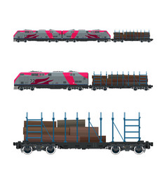 pink locomotive with railway platform vector image vector image