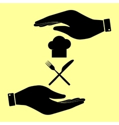 Save or protect symbol by hands vector