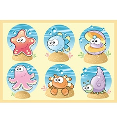 Sea family with background vector