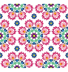 Seamless floral polish folk art pattern - wzory lo vector