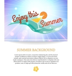 Shining summer paradise holidays background with vector image