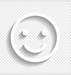 Smile icon white icon with soft shadow on vector