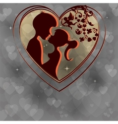 Smoky design with silhouettes of two lovers vector
