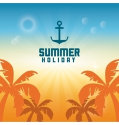 Summer design palm tree and anchor icon graphic vector image vector image