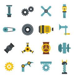 Techno mechanisms kit icons set in flat style vector
