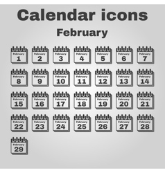 The calendar icon February symbol Flat vector image vector image