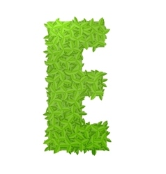 Uppecase letter E consisting of green leaves vector image
