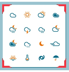 Weather icons in a frame series vector image vector image