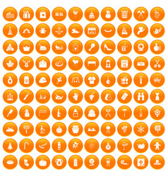 100 family tradition icons set orange vector image