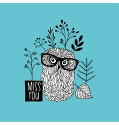 Print for the postcard with cute doodle owl vector image