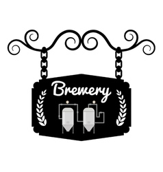 Brewery signboard pub hanging vintage design vector