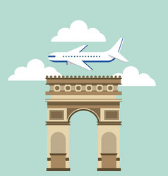 arch of triumph travel icons vector image