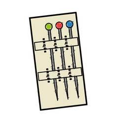 Sewing pins isolated icon vector