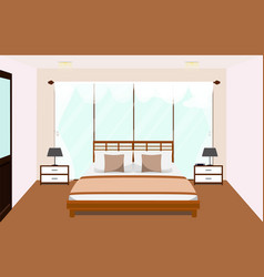 Bedroom interior with furniture glass window vector