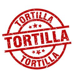 Tortilla round red grunge stamp vector