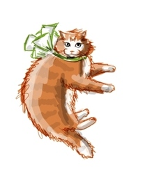 Cute orange cat sketch for your design vector