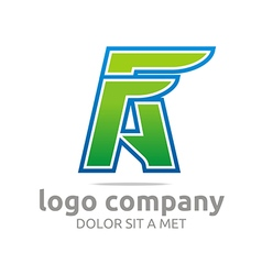 Logo letter a f alphabet green company design icon vector