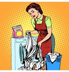 Woman washes clothes washing machine vector