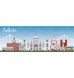 Kolkata skyline with gray landmarks vector