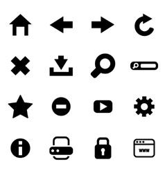 Black browser icon set vector