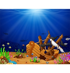 Ancient broken ship undersea vector