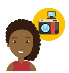 Avatar woman and camera vector