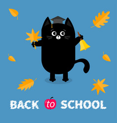 Back to school black cat graduation hat academic vector
