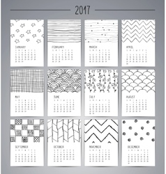 Calendar 2017 templates with hand drawn patterns vector