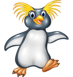 Cartoon funny penguin rockhopper vector