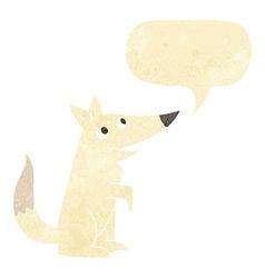 Cartoon wolf cub with speech bubble vector