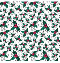 Christmas seamless pattern with mistletoe new vector