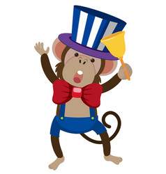Circus monkey with golden bell vector
