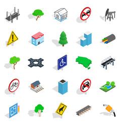 crossroad icons set isometric style vector image