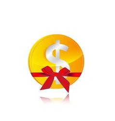 dollar coin gift vector image vector image