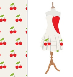 Dress and cherry pattern vector