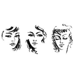 Female silhouette portrait of beautiful girl vector