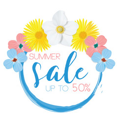 flower banner with text summer sale on white vector image