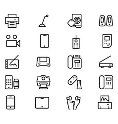 Gadgets line icons 3 vector
