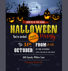 Halloween party invitation with dracula castle vector