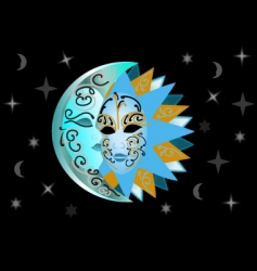 illustration of sun and moon vector image