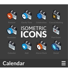 Isometric outline icons set 39 vector image