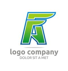Letter a f alphabet green company design icon vector