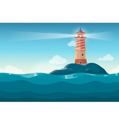 Lighthouse on rock stones island cartoon vector image