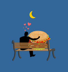Lover fast food man and hamburger sitting on vector